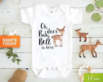 Animal Onesie Cute Onesie Funny Onesie Deer Onesie Boho Baby Onesie Christmas Onesie Oh Deer Will Santa Be Here Holiday Onesie\u00ae 393O