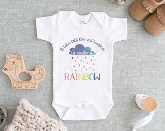 8a1a0da8a Rainbow Baby Pregnancy Announcement - It Takes Both Rain & Shine to Make a  Rainbow IVF Onesie - Sibling Memorial Onesie