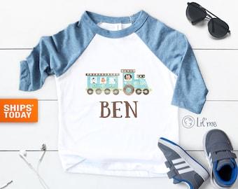 Personalized Train Toddler Boy Shirt - Custom Name Boys Baseball Tee