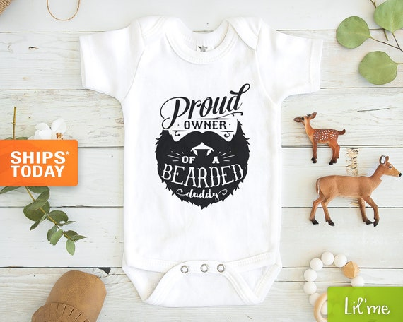 12-18 Months Proud Owner of a Bearded Daddy Funny Cute Baby Grow Bodysuit New Arrival Newborn Gift