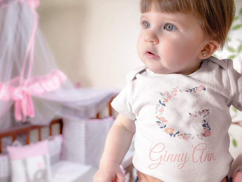 Personalized Floral Baby Name Onesie\u00ae Girl Custom Onesie\u00ae Girl Baby Name Onesie\u00ae Girl Flowers Onesie\u00ae Girl