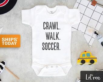 Soccer Baby Onesie® -  Crawl, Walk, Soccer Baby Onesie® - Cute Soccer Lover Bodysuit