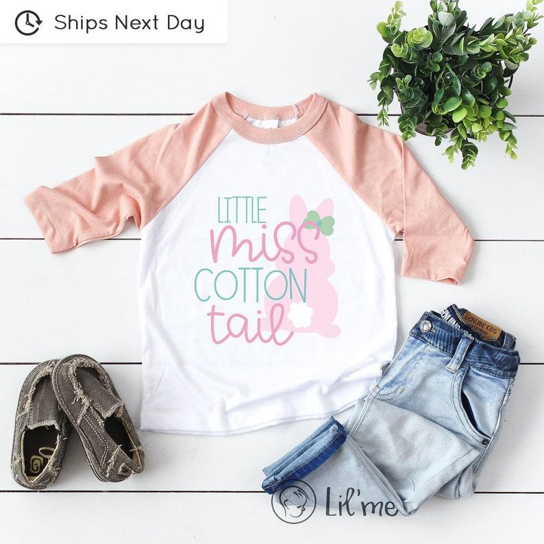 Cute Easter Baby Girl Onesie\u00ae Cute Easter Baby Girl Gift Little Miss Cotton Tail Onesie\u00ae Girls Bunny Baby Onesie\u00ae