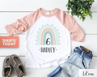 Personalized Rainbow Birthday Kids Shirt - Custom Name Girls Toddler Shirt - Cute Rainbow Birthday Baseball Tee