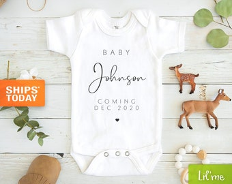 Personalized Last Name Announcement Baby Onesie® - Pregnancy Announcement Baby Onesie®,  Modern Announcement Onesies®, Baby Name Onesie®