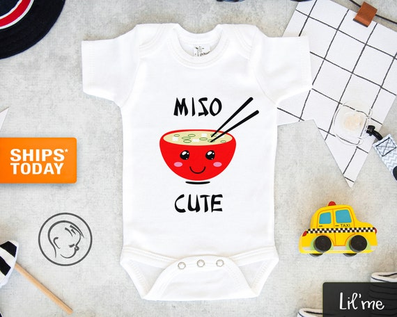 Miso Cute Baby Bodysuit Cute Baby Clothes Baby Shower Gift Pink Blue Gray Baby Boy and Girl Newborn Baby