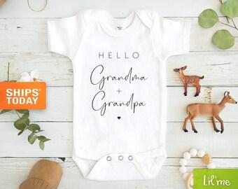 Hello Grandma and Grandpa Baby Onesie® - Grandparents Announcement Onesie® Baby - Cute Grandma & Grandpa Baby Onesie®