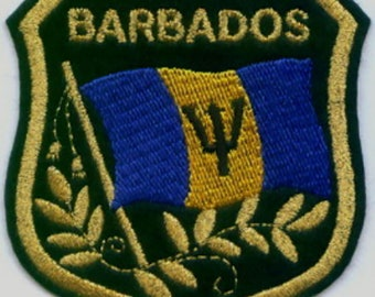 """Barbados Flag in shield Embroidered Patches 3.25/""""x2.75/"""""""