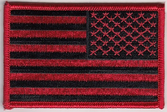 """B Embroidered Patches 3.5/""""x2.25/"""" iron-on 3 Pcs USA American Flag Black//Red"""