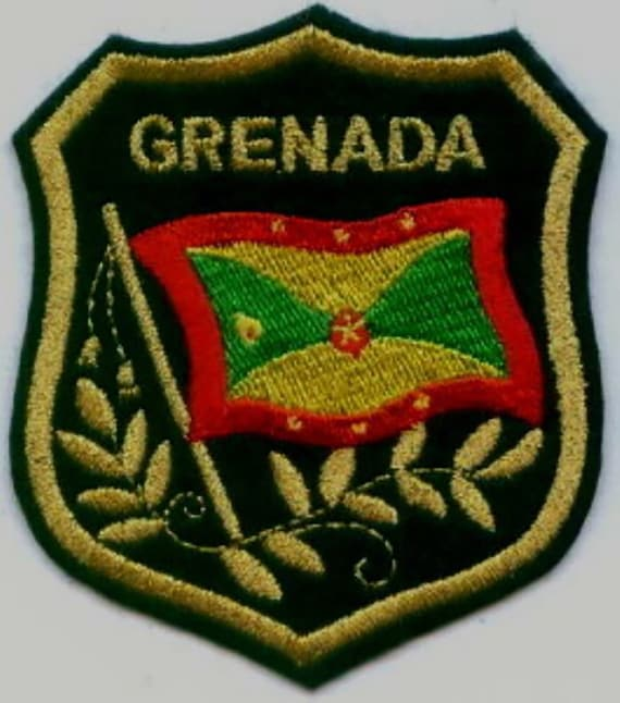10 Pcs GRENADA Flag in shield Embroidered Patches 3.25x2.75 iron-on