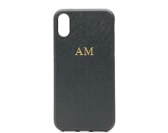 1c7e2e69a3 iPhone X/XS Personalised Monogrammed Phone Case. Saffiano Leather - Black