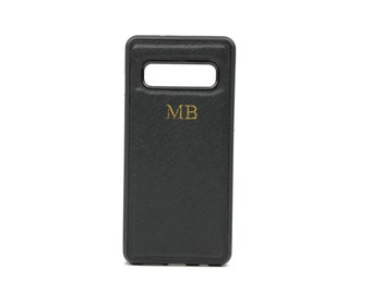 d51f632166 Samsung Galaxy S10 Personalised Monogrammed Phone Case. Saffiano Leather -  Black