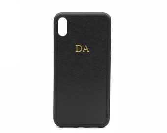 dd5c7ae6bc iPhone XS Max Phone Case. Personalised Momogrammed Saffiano Leather - Black