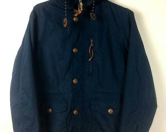 049b74389e88 Vintage Journal Standard Parka Military Multipocket Utility Fur Jacket  Hooded Navy Blue Streetwear Hypebeast Minimalist Supreme Bape Medium
