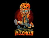 Halloween Zombie Pumpkin Ai, Eps, Pdf, Svg, Png, High Quality File, Shirt Design, Halloween Flag Design