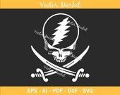 Jolly Roger Grateful dead Pirate Ai, Eps, Pdf, Svg, Png, High Quality File, Shirt Design, Grateful dead Flag Design Active