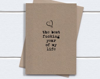 1st anniversary Card for him her girlfriend boyfriend husband wife | The Best fucking Year of my LIfe