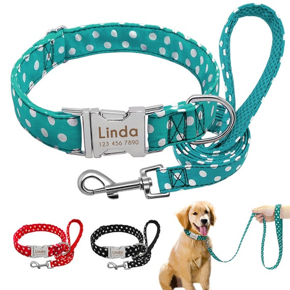 Dog Collar and Leash,Dog collar peronalized,Dog collar engraved,Collar embroidered,Engrave Name and Phone Number,Pet Supplies,Colourfu Leash