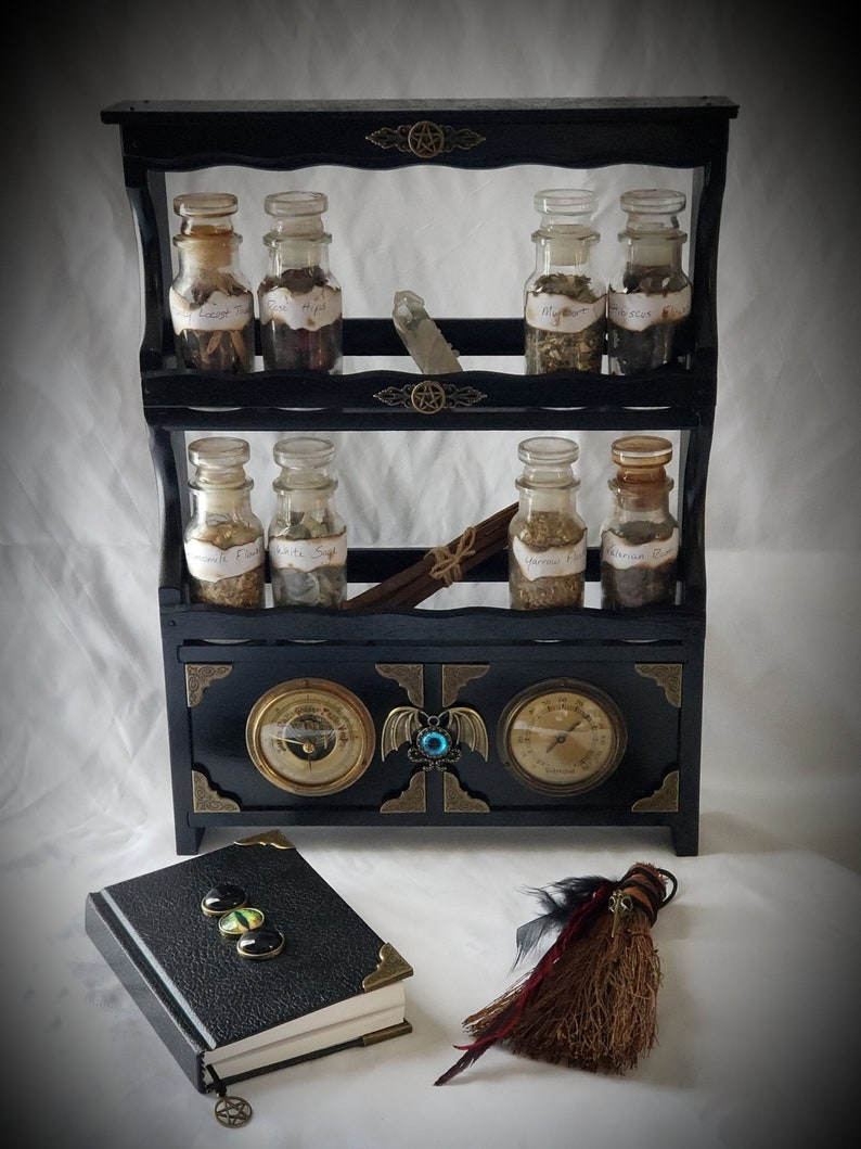 Apothecary Cabinet with Antique German Weather Gauges