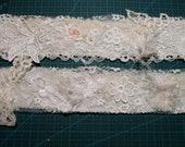 Embellished lace snippet trim 22 inches Snippet roll Handmade lace trim