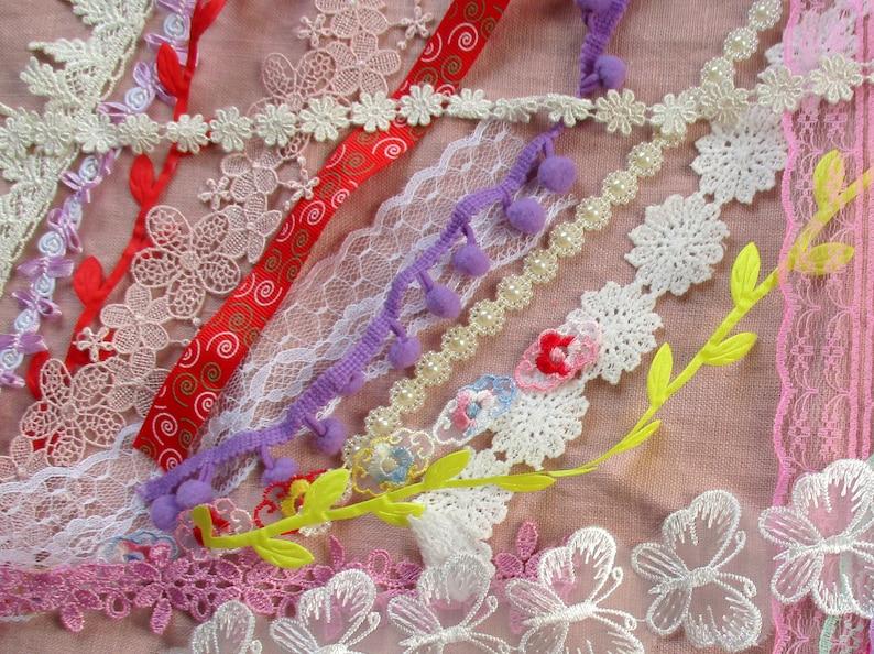 Lace and fabric kit Inspiration Kit Embellishment Pack Slow Stitch 50 pcs