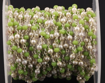 3-50 Feet Prehnite Hydro /& Pearl Beaded Oval Smooth Rosary Chain,6x7mm Silver Plated Chain,Bulk Roll Rosary Chain,Jewelry Making Chain Beads