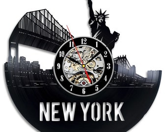New York Art United States Travel Wall Clock Vintage Birthday Gift Idea For Her City Retro Vinyl Record Large