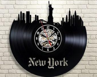 United States Travel Art Wall Clock Vintage Birthday Gift Idea For Her New York City Retro Vinyl Record Large