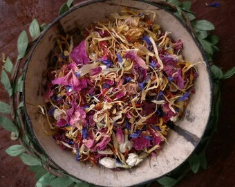 Dried Flower Petals | Red Rose Petals | Certified Organic | Plastic Free | Flower Confetti | Calendula | Nature Play | Sensory Play