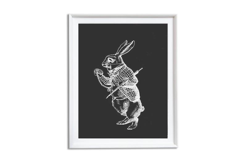 Black and White Wall Art Nursery Wall Art Alice in Wonderland Print Vintage Room Decor Set of 3 White Rabbit Mad Hatter