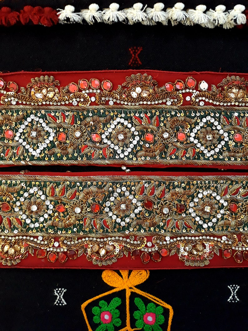 Vintage Saree Border India Decorative Trim Antique Embroidered Ribbon Silk Sari Lace Trimmings Decor Cloth Tape Hem Patch Applique ANI112