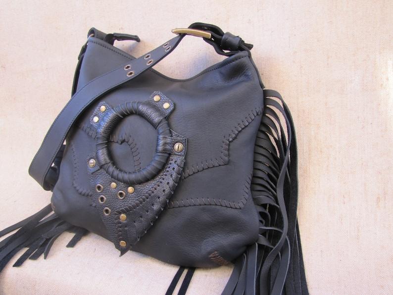 Western hippie purse. Handmade purse Leather Fringe Bag Cross body boho Tribal bag asymmetrical hobo Raw Edge Bag Black Leather