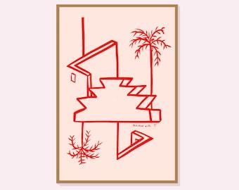 Morroco's Vibes #2 (red)- Mathilde OLIVIER // Screenprint
