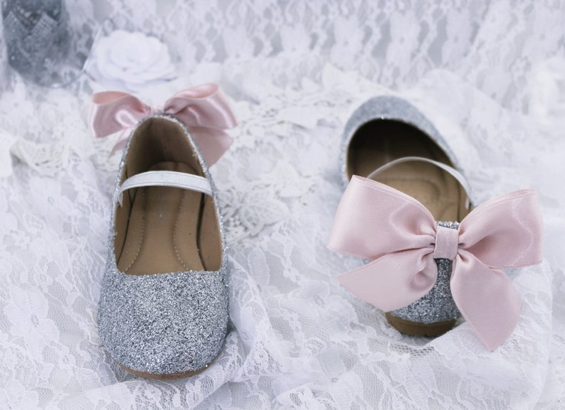 94f61fa9e425 Glitter mary-jane with satin ribbon bow Flower Girl Shoes