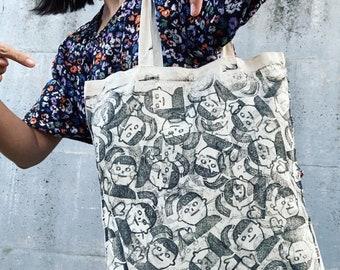 Tote bag with pattern, block print