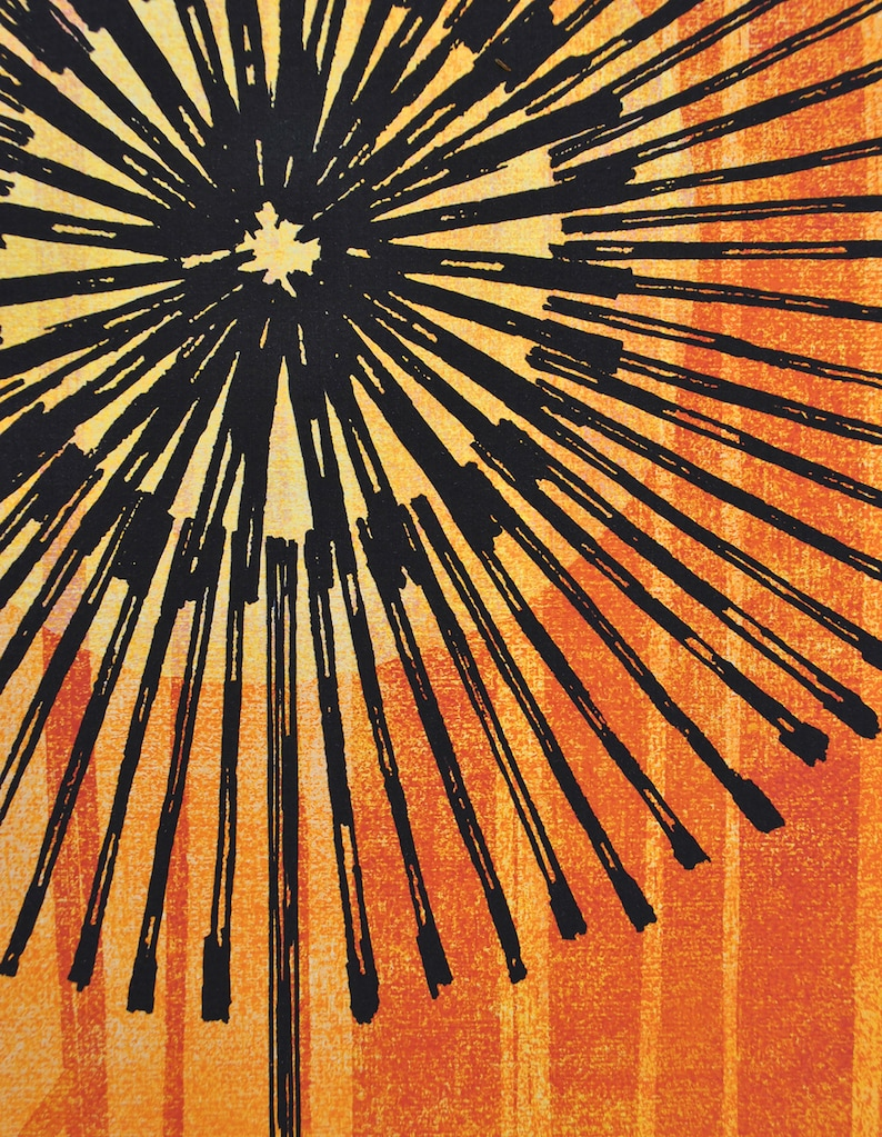 Modern Orange Print A3 A4 Bright Orange Print Giclee print Dandelion Clock Print Orange Botanical Botanical Wall Art