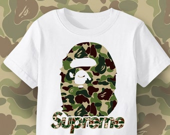 e1ecbeea BAPE shirt, Supreme Bape Army Military Pattern t-shirt, Cult urban street  wear, Cool Trendy T shirt Design print