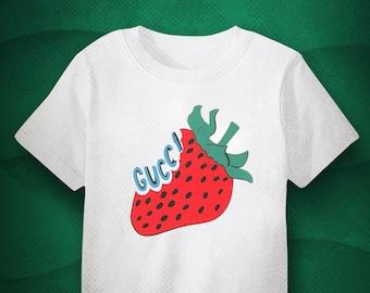 b41e7edb Brand New Gucci Strawberry T shirt design, Gucci Italian Cult Fashion, Gucci  Classic logo design, Stylish Gucci cult design