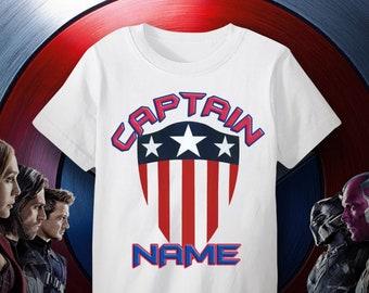 dbb29d565 CAPTAIN AMERICA Custom Name Superhero!Custom Name Captain America shirt for  boys,Personalized Captain America birthday gift,Kids action hero