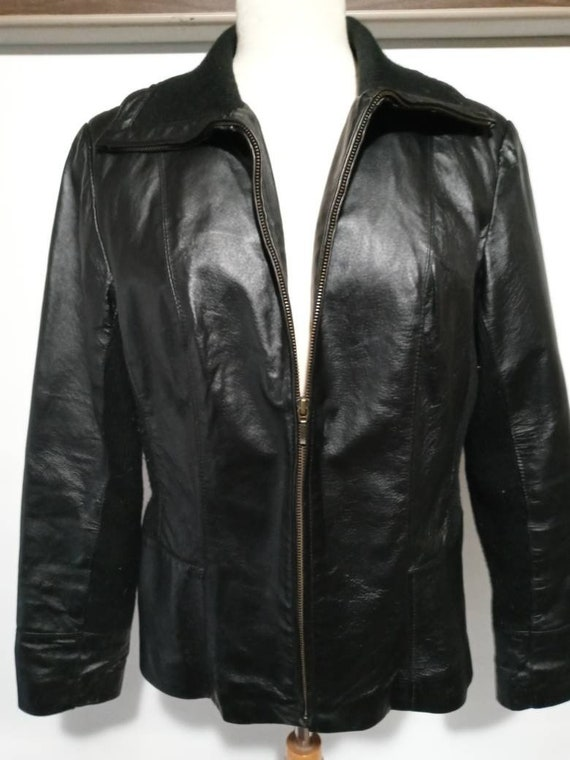 Womans Coldwater Creek Black Leather Jacket