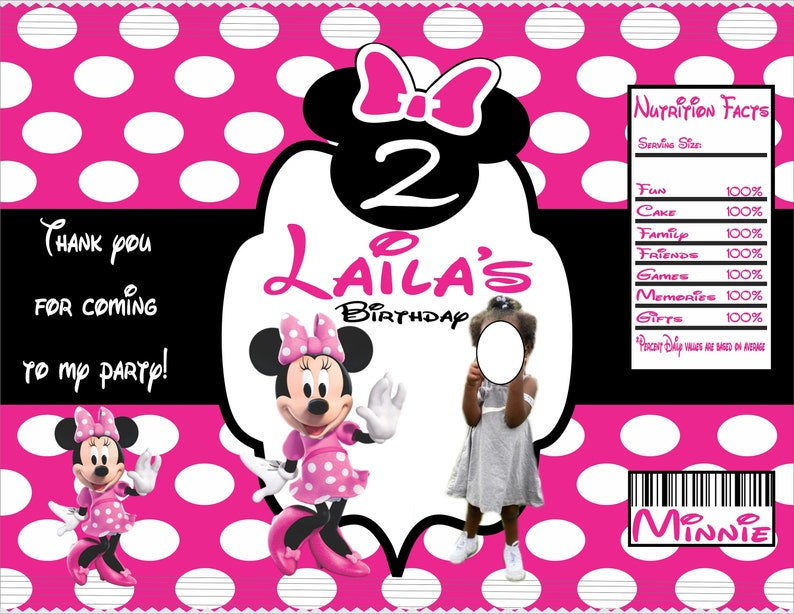 Personalized Pink and black Minnie chip bag for birthday or baby shower