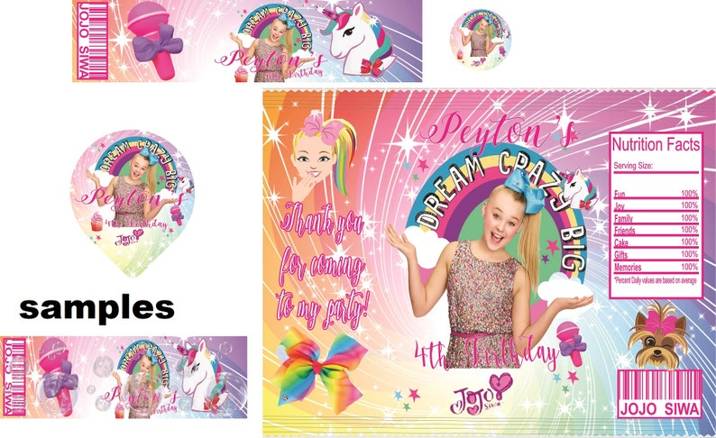 NO WAIT ! Instant Download Jojo Siwa chip bag for birthday Personalized will be 1.00 extra ask first
