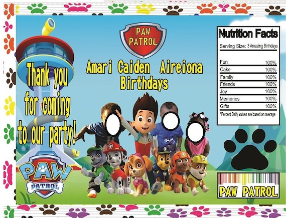 Personalized Paw Patrol Chip Bag Template Add Pic Free Any Color