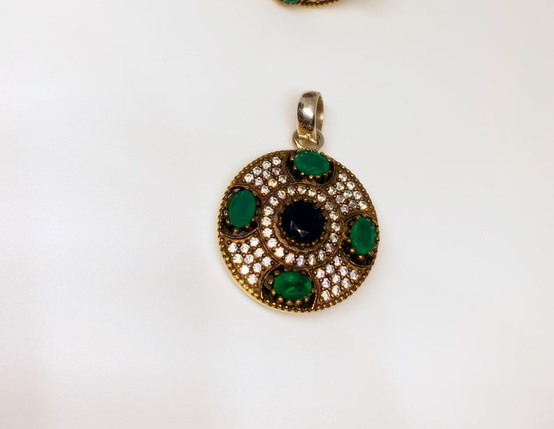Silver and Gemstone Pendant In Art D\u00e9cor Sterling Silver Settings. TURKISH Statement Jewelry