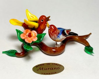 Murano glass figurine lampworked in Venice by Umberto Ragazzi with black cat and broom Witch of Halloween