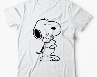 f6a12480ca9c Snoopy Dog Peanuts Charlie Brown Hug WSN96 Unisex White T-Shirt Free UK  Delivery
