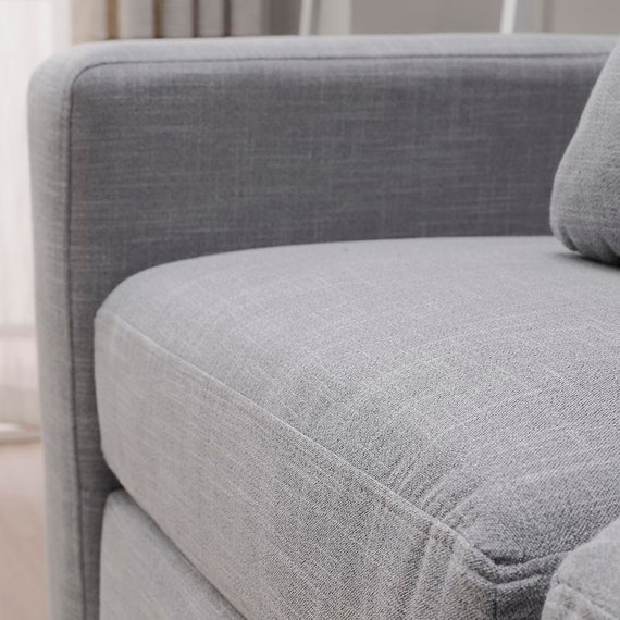 Sensational Corner Sofa L Shaped 3 Seat Designer Sofa Left Right Hand Side Matching Footstool Linen Fabric Grey Evergreenethics Interior Chair Design Evergreenethicsorg