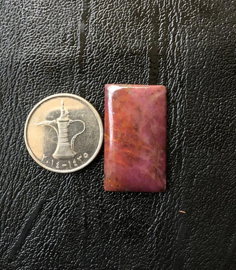 Brilliant Ruby Zoisite Cabochon Handmade Ruby Zoisite Rectangle shape Cabochon Pendant Use 31X18MM One sided Polish Ruby Loose Gemstone RZ08