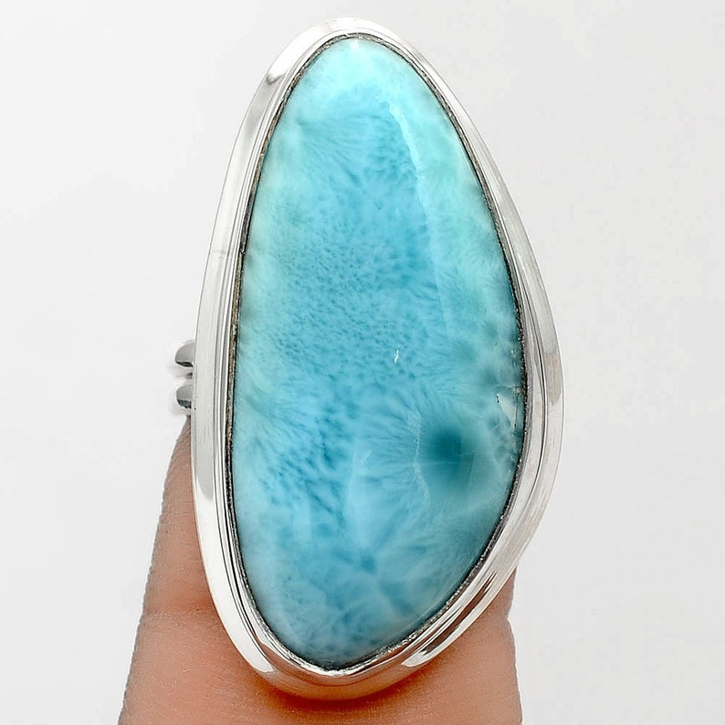 Dominican Republic Larimar 925 Sterling Silver Ring s.6 Jewelry SDR84909