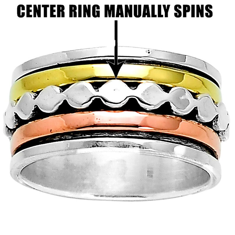 Silver 925 Spinning Ring Meditation Spin Spinner Wide Band Waves Size R1017